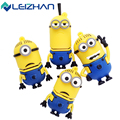 LEIZHAN Minions USB Flash Drive 64GB High Speed USB Stick 32GB Pen Drive Real Capacity 16GB 8GB Pendrive Flash Drive 4G USB Gift