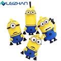 LEIZHAN Minions USB Flash Drive 64GB High Speed USB Stick 32GB Pen Drive Real Capacity 16GB 8GB Pendrive Flash Drive 4G USB Gift