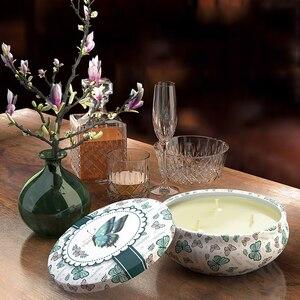 Image 5 - Bougies parfumées de plante en fer blanc 14oz, grand pot, huile essentielle écologique, sans fumée, trois cœurs, lumières