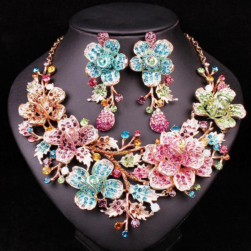 Luksus brudesmykker sæt bryllup halskæde øreringe sæt til brude kostume tilbehør blomster Rhinestone smykker engros