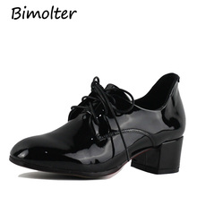 Bimolter NEW Fashion Patent Leather Thick Med Heels Elegant Cross-tied Pumps Black Casual Office Female Shoes Spring PCWA004