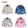 2016 Autumn Children Outerwear & Caots Cartoon Car Graffiti Hooded Kids Jackets Full Length Fleece Windbreaker Baby Coat Jacket