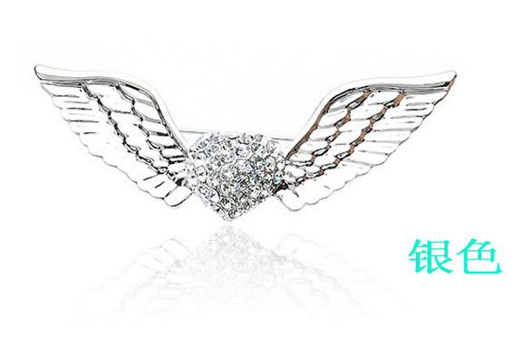 Stylish brooch, angel wings long Brooch simple ornaments clothing accessories Cat Eye Stone silver Popular Drip Badge Pin Suit