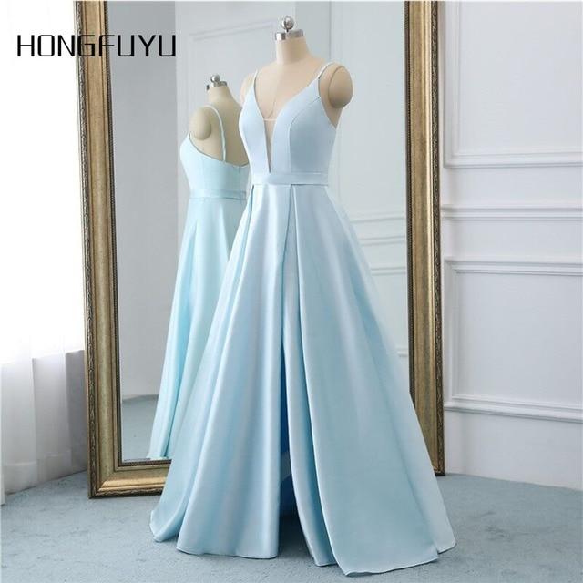 סקסי קו V צוואר ללא משענת סאטן אלגנטי שמלות נשף 2019 ספגטי רצועת רוכסן חשוף גב לקיר אורך נשף שמלת HFY102302