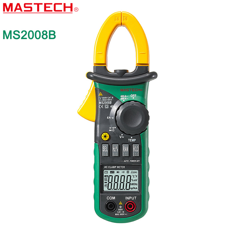MASTECH MS2008B Digtal Clamp Meter with Light Temp Frequency ACDC Digital Multimeter Electric Tester Current Clamp Meter Ammeter free shippin 5pcs lot new high quality blue mini digital clamp meter digital multimeter compare ms2008b for temp frequency meter