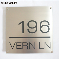 Waterproof Door Plate Customized Brushed Stainless Steel Home Sign With Family Name Modern House Sign