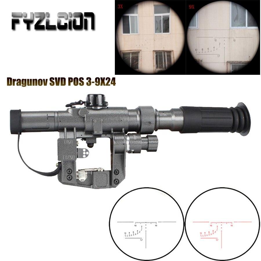 Dragunov SVD POS 3-9X24 chasse point rouge visée fusil portée verre réticule optique tactique vues tir AK lunette de visée