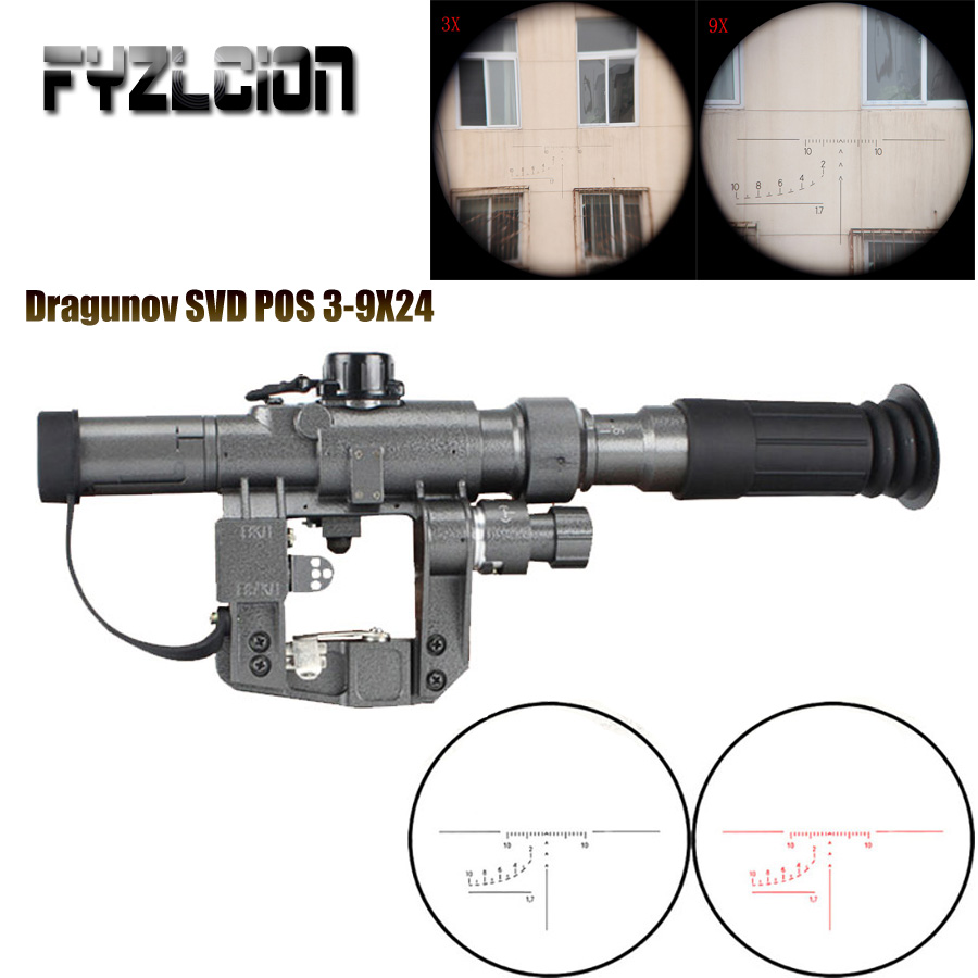 Dragunov SVD POS 3-9X24 Hunting red dot sight Rifle scope Glass Reticle Tactical Optics Sights Shooting AK riflescope compact m7 4x30 rifle scope red green mil dot reticle with side attached red laser sight tactical optics scopes riflescope
