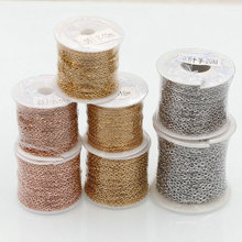 10 yards/roll Bulk Rose Gold Color Stainless Steel Cable Link Chains 1.0 1.5  2.0 2.5 3MM for DIY Necklace Jewelry Making Craft