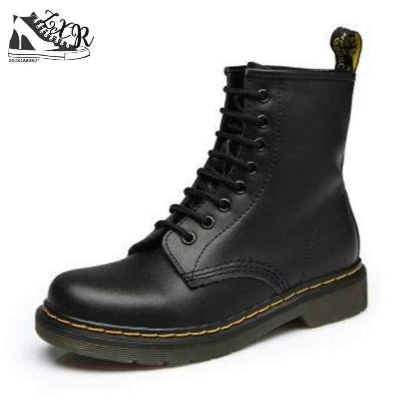 Genuine leather Women Martin Boot Fashion Winter Warm Shoes Female Motorcycle Ankle Snow Boots For Woman Botas mujer