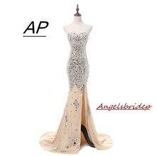 ANGELSBRIDEP Abendkleider ön bölünmüş Mermaid akşam elbise şifon Abiye Gece Elbisesi Sparkly lüks kristaller Robe De Soiree