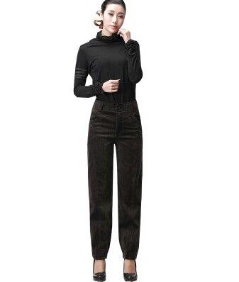 Осень весна зима вельветовые повседневные женские брюки с высокой талией длинные женские брюки больших размеров gbs0401 - Цвет: Армейский зеленый