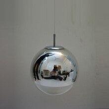 1 unidades led mirror glass Luces Pendientes E27 bombilla Barra Cromada lámpara colgante bola de cristal lustres lámpara cafetería cocina comedor