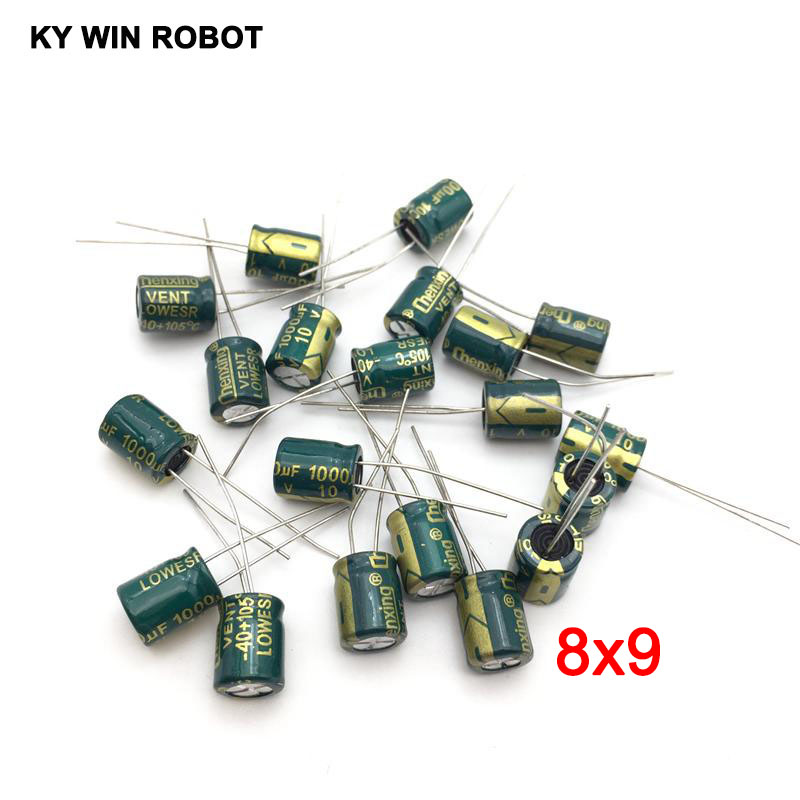 20pcs/lot 10V 1000UF 8*9mm High Frequency Low Impedance Aluminum Electrolytic Capacitor 1000uf 10v