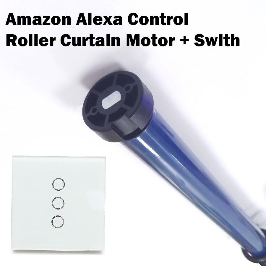 Alexa Echo google home voix ou contrôle par appli Rideau Obturateur Moteur 35 Rouleau Moteur avec Interrupteur pour 50 mmTube Soutien 20 kg 220 v