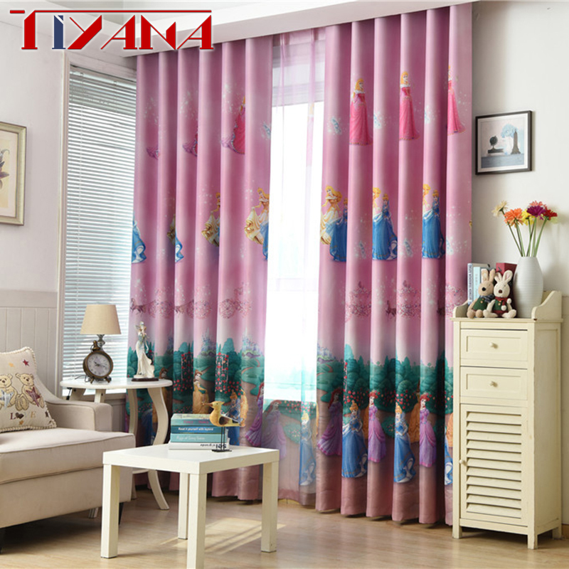 Pink Cartoon Princess Curtains For Child Bedroom Blue Curtains Fabric For Baby Girls Room Finished Blackout Cortinas AG107&3