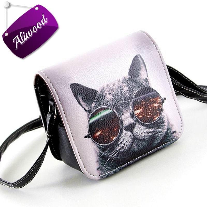 2017 Women Messenger Bags PU Leather Glasses Cat Print Mini Shoulder Handbags Ladies Crossbody Bags Carteras Sac Bolsas Feminina