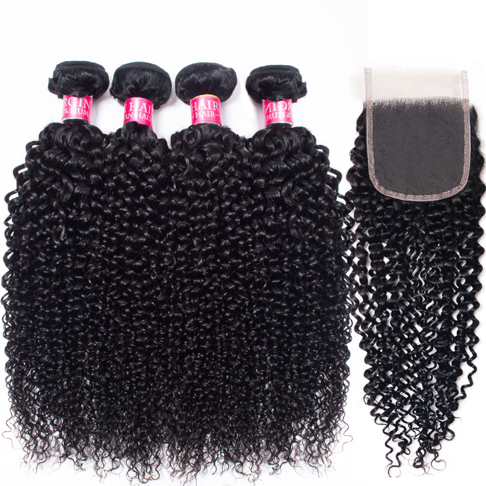 mongolian afro kinky curly 4 bundles with closure human hair bundles with closure brazilian hair weave bundles with closure