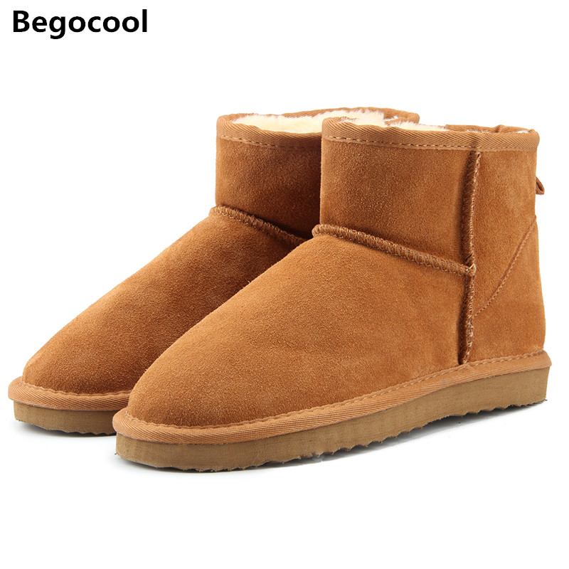 Begocool Brand Hot Sale Women Snow Boots 100% Genuine Cowhide Leather Ankle Boots Warm Winter Boots Woman shoes large size 34-44 hot sale men basic black winter warm fur shoes high top nuduck genuine leather luxury brand ankle snow boots flats size 38 44