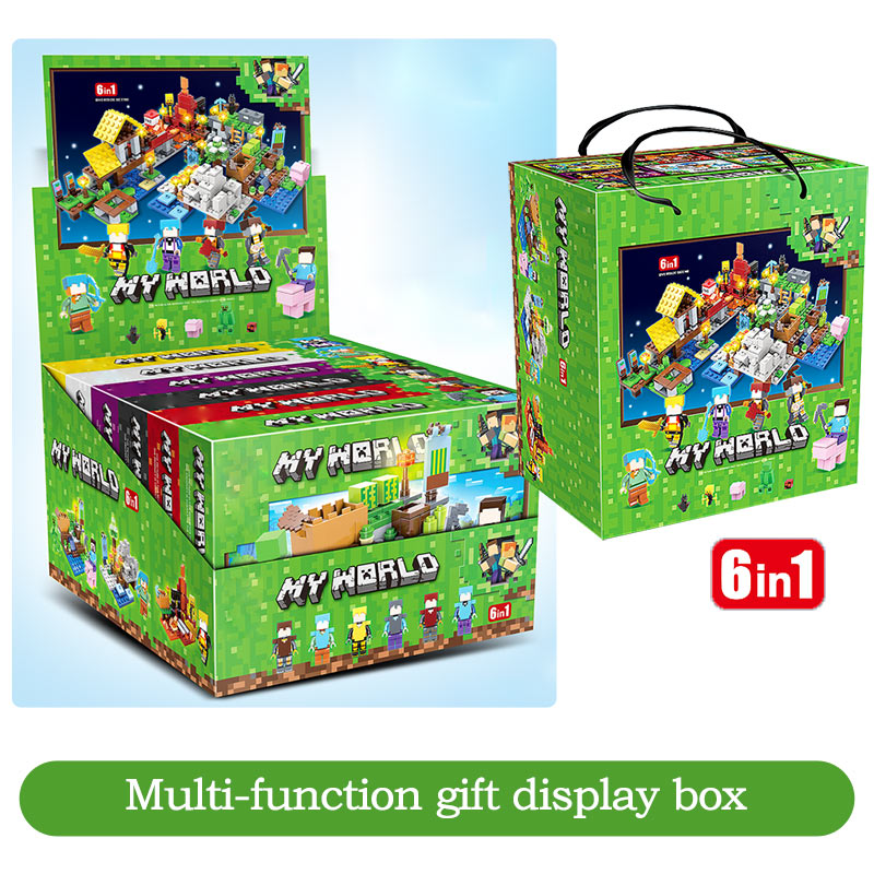 737pcs MY WORLD Compatible Legoinglys Minecrafted Figures Arms Building Blocks Defend Home Zombie Figures DIY Toys For Children 5