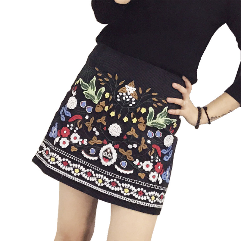 corduroy embroidered skirt women 2018 apring autumn vintage korean fashion A line high waist skirts ladies mini skirt in Skirts from Women 39 s Clothing