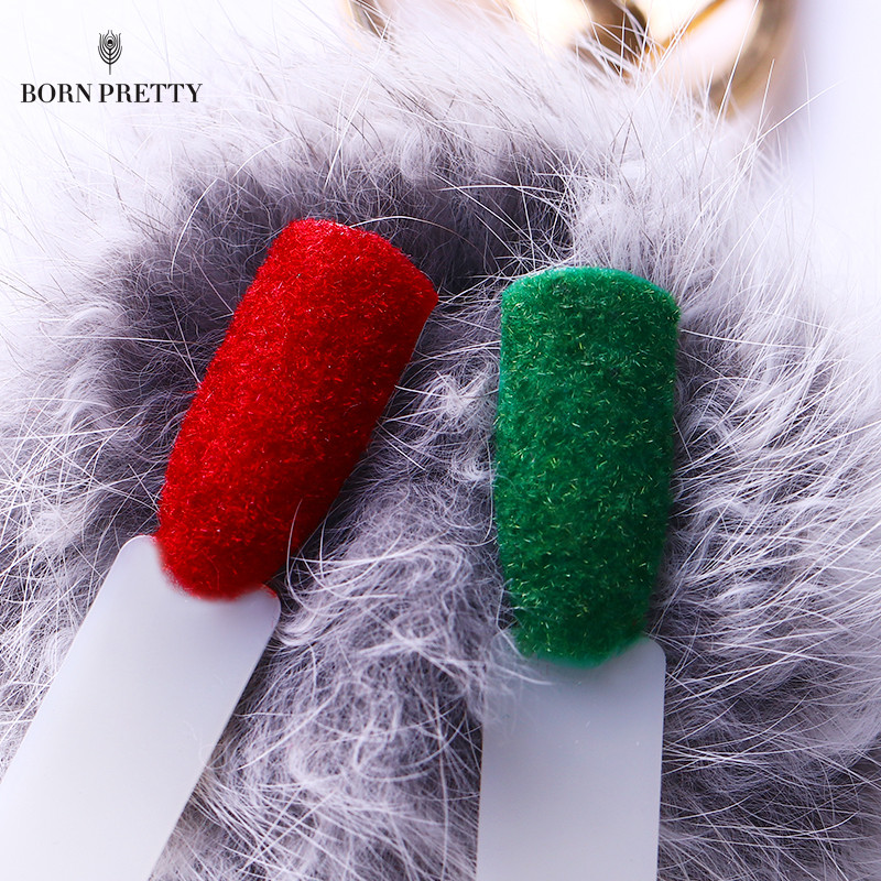 Xmas Halloween Fuzzy Flocking Velvet Nail Glitter Powder
