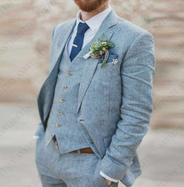 ANNIEBRITNEY 夏ブルーリネンメンズスーツカジュアルビーチタキシード結婚式花婿ベストマンブレザー男性のため