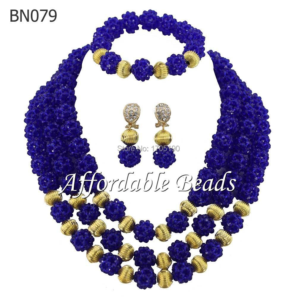 2017 Charming Royal Blue African Wedding Crystal Beads Jewelry Sets Nigerian Costume Bridal Necklace Jewelry Free Shipping BN0792017 Charming Royal Blue African Wedding Crystal Beads Jewelry Sets Nigerian Costume Bridal Necklace Jewelry Free Shipping BN079