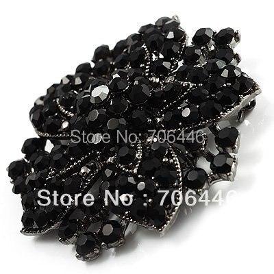 2,2 дюймов винтажная Серебряная черная Хрустальная Морская звезда, брошь для вечеринки, выпускного, ювелирные изделия, подарки