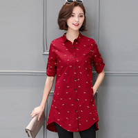 autumn new korean version cotton print shirt 2018 plus size womens tops and blouses and long sections female blusas shirts