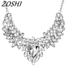 ZOSHI Brand Fashion women statement choker necklace silver plated chain ladies pendants necklaces crystal jewelry collier femme