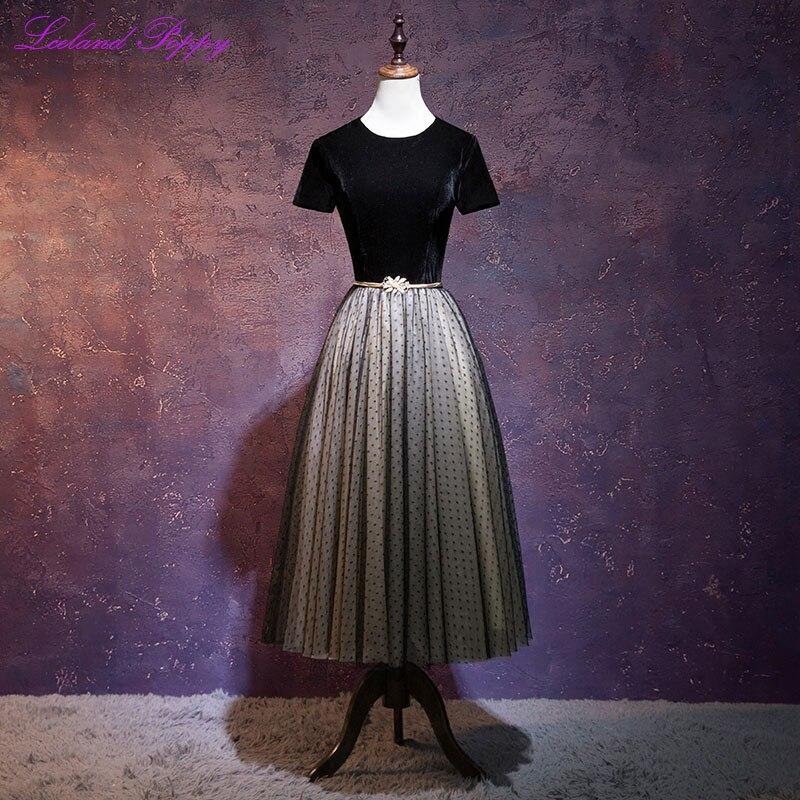 Elegant Women's A-line Black Velvet Vintage Cocktail Dresses 2019 Tea Length Tulle Party Dress Formal Dress With Belt