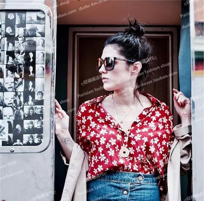 المرأة زهرة طباعة الحرير بلوزة الربيع الخريف كم طويل لينة فام قميص قميص أعلى الأحمر/الأزرق الداكن-في بلوزات وقمصان من ملابس نسائية على  مجموعة 3