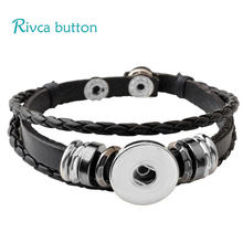 P00646 Wholesale Snap Button Bracelet&Bangles 10 color High quality leather Bracelets For Women 18mm Rivca Snap Button Jewelry(China)