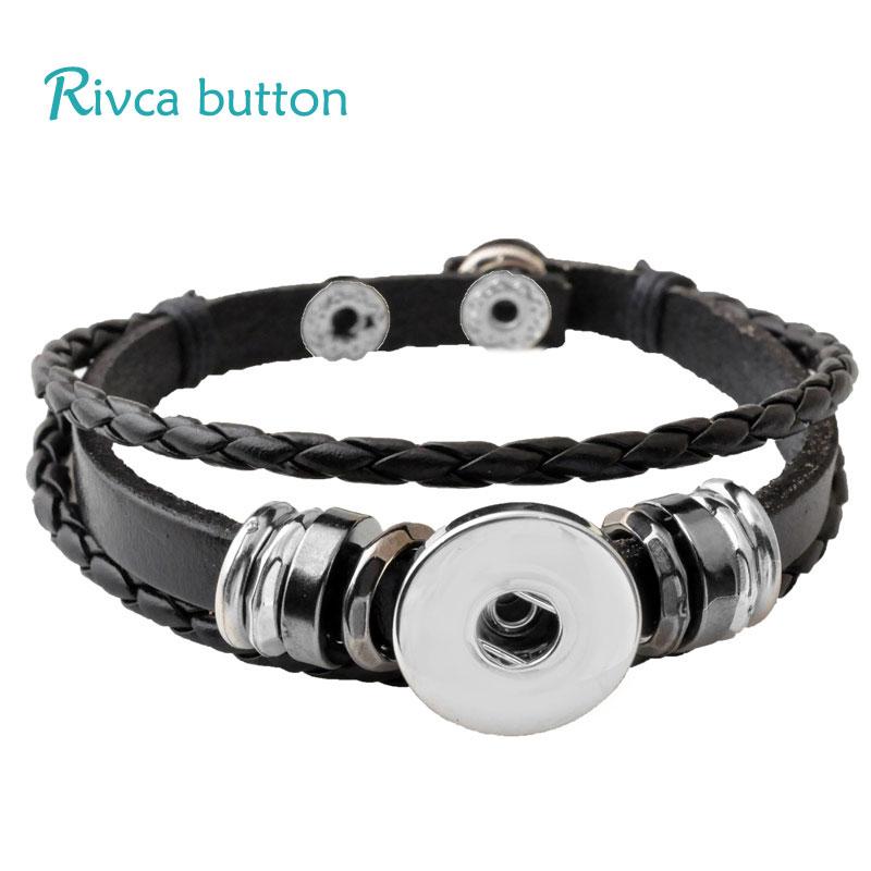 P00646 Wholesale Snap Button BraceletampBangles 10 Color High Quality Leather Bracelets For Women