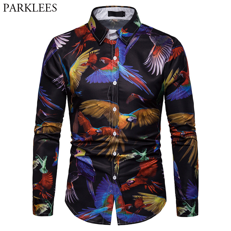 3D Parrot Animal Print Shirt Men 2019 Fashion Slim Fit Long Sleeve Shirt Men Business Casual Button Down Shirts Camia Masculina