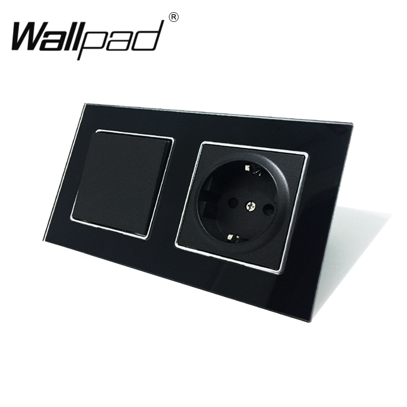 EU Socket With Claws Wallpad Black Glass Panel 1 Gang 2 Way Wall Switch And Schuko EU Wall Power Socket With Haken Mount Back