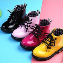 2019 New Children Shoes PU Leather Waterproof Martin boots Kids leather  shoes Brand Girls Boys Rubber 714a89d337b6