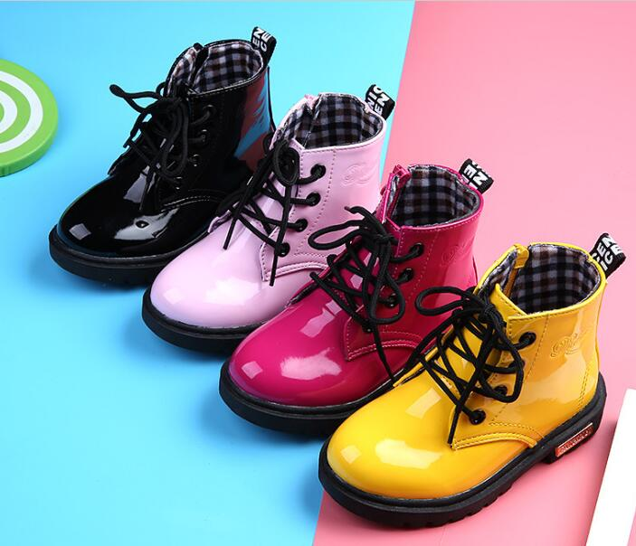 2019 New Children Shoes PU Leather Waterproof Leather Boots Kids Leather Shoes Brand Girls Boys Rubber Boots Fashion Sneakers