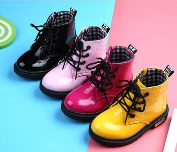 2019 New Children Shoes PU Leather Waterproof leather boots Kids leather shoes Brand Girls Boys Rubber Boots Fashion Sneakers kids shoes spring girls pu leather sneaker boy flats children shoes waterproof boots kids girls sneakers for girls trainers 838d