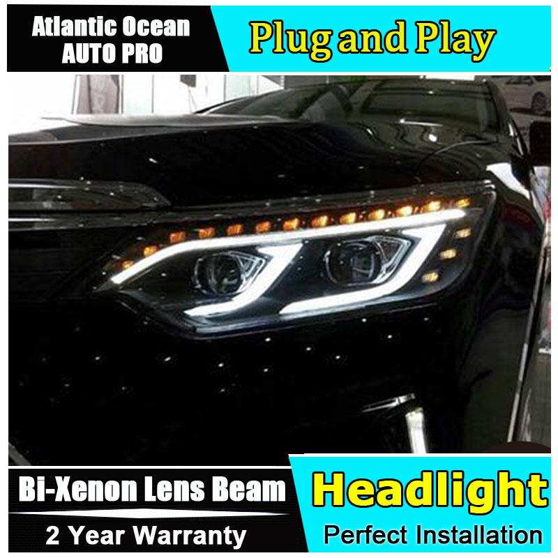 Car Styling New Arrival Headlight for Camry V55 headlights 2015 Camry LED Headlight led drl HID KIT Bi-Xenon Lens low beam car styling new arrival headlight for