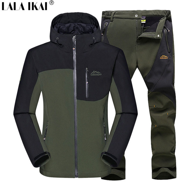 Male Outdoor Jacket Hiking Camping Sports Waterproof Skiing Jackets Pants Suit Moutain Clothes WIindproof Clothing Set HMC0002-5