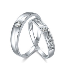 Love Diamond Ring 18K White Gold Diamond Wedding Rings Couple Set Genuine Gold Engagement Ring Wedding Band