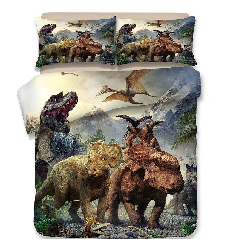 Fantasie 3D Dinosaurier Bettwäsche Set Twin Königin König Größe Flache Bettlaken mit Kissenbezug Bettbezüge für Kind Teen Junge junge Erwachsene-in Bettwäsche-Sets aus Heim und Garten bei  Gruppe 1