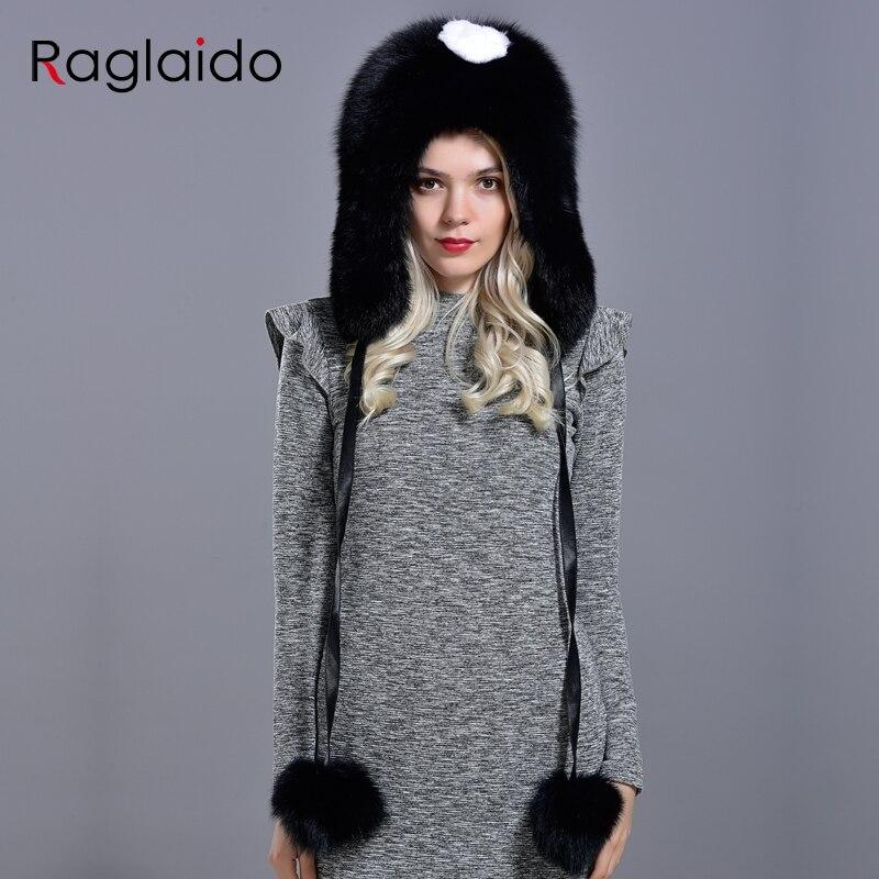 Femmes hiver chapeaux et casquettes fourrure naturelle renard chapeau avec des queues 2 boules fourrure moelleuse élégant à la mode élégant chapeau chaud avec des oreillettes