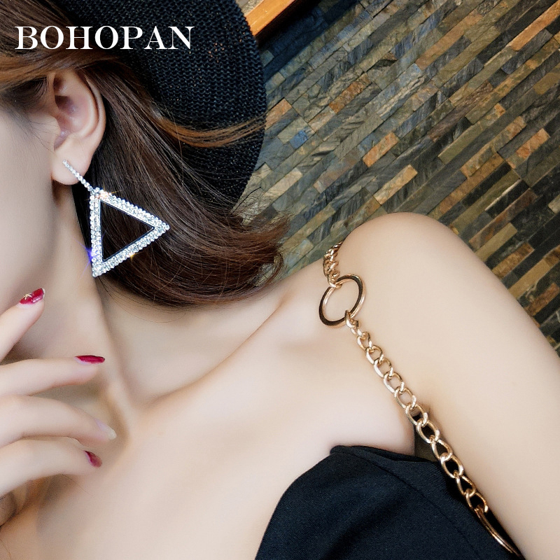 Fashion Rhinestone Dangle Earrings Women Shiny Triangle Crystal Drop Earring for Women Statement Jewelry boucle d 39 oreille Party in Drop Earrings from Jewelry amp Accessories