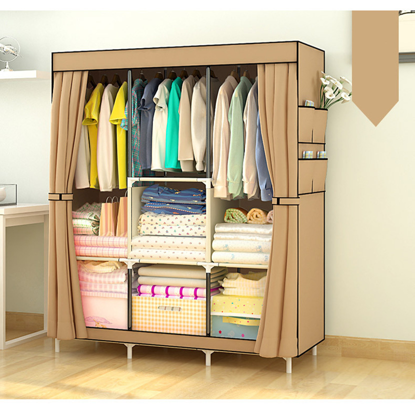 Three Rows Wardrobe Closet Large And Medium-Sized Cabinets Simple Folding Reinforcement Receive Stowed Clothes