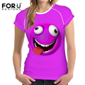 Forudesigns divertido emoji impresión mujeres de la camiseta de la novedad 3d cara sonriente camiseta mujer manga corta camiseta de la manera de señora clothes tops