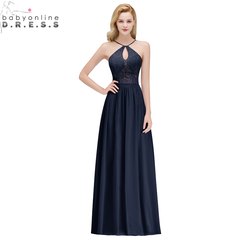 Babyonlinedress Sexy Open Back Halter Neck Lace Prom Dresses Long Chiffon Navy Blue Pink Burgundy Prom Gown Abendkleider