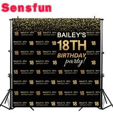 Sensfunボケハッピー18誕生日ブラックゴールド子供の誕生日カスタム写真スタジオの背景の背景ビニール10x10ft